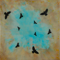 Murder of crows encaustic photography. SOLD