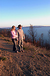 Wyoming, Yellowstone National Park: .Couple hiking at Lake Yellowstone, Model Released.Photo #: yellow663..Photo copyright Lee Foster, 510/549-2202, lee@fostertravel.com, www.fostertravel.com..