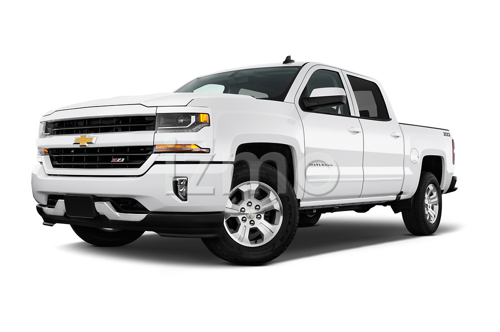Stock pictures of low aggressive front three quarter view of 2018 Chevrolet Silverado-1500 LT-Z71-Crew 4 Door Pick-up Low Aggressive