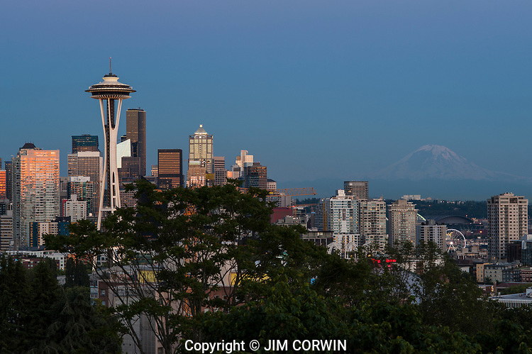 Seattle syline from Queen Anne Hill with Mount Rainier and the Iconic Space Needle