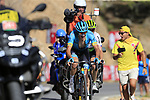 Nikita Stalnov (KAZ) Astana Pro Team and Benjamin King (USA) Team Dimension Data on the slopes of Sierra de la Alfaguara near the finish of Stage 4 of the La Vuelta 2018, running 162km from Velez-Malaga to Alfacar, Sierra de la Alfaguara, Andalucia, Spain. 28th August 2018.<br /> Picture: Eoin Clarke   Cyclefile<br /> <br /> <br /> All photos usage must carry mandatory copyright credit (&copy; Cyclefile   Eoin Clarke)