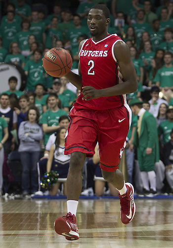 January 19, 2013:  Rutgers guard Dane Miller (2) dribbles the ball during NCAA Basketball game action between the Notre Dame Fighting Irish and the Rutgers Scarlett Knights at Purcell Pavilion at the Joyce Center in South Bend, Indiana.  Notre Dame defeated Rutgers 69-66.