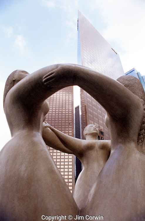 Downtown Los Angeles Three Sisters Sculpture in Plaza