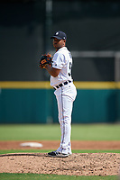 Detroit Tigers pitcher Wladimir Pinto (50) gets ready to deliver a pitch during a Florida Instructional League game against the Pittsburgh Pirates on October 6, 2018 at Joker Marchant Stadium in Lakeland, Florida.  (Mike Janes/Four Seam Images)