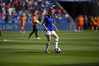 DECINES-CHARPIEU, FRANCE - JULY 07: Tierna Davidson #12 warming up prior to the 2019 FIFA Women's World Cup France Final match between Netherlands and the United States at Groupama Stadium on July 07, 2019 in Decines-Charpieu, France.