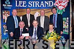 QUALITY: John and Carol Mason Ballymacelligott who were the Lee Strand overall quality milk winner been presented with a crystal bowl and Carol a boutique of flowers by Bill Kennedy (manager of Lee Strand). Back l-r: Jerry Dwyer, Brendan Walsh (Chairman), John Daly (Brownes Castleisland) and Tim O'Keeffe(Finacial Controller)..................