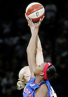 Detroit player Kara Braxton (45) and San Antonio player Ann Wauters (12) jump for the ball during Game 2 of the WNBA Finals between the Detroit Shock and the San Antonio Silver Stars, Oct. 3, 2008, at the AT&T Center in San Antonio. Detroit won 69 - 61 to go up 2 - 0 in the best-of-five series. (Darren Abate/pressphotointl.com)
