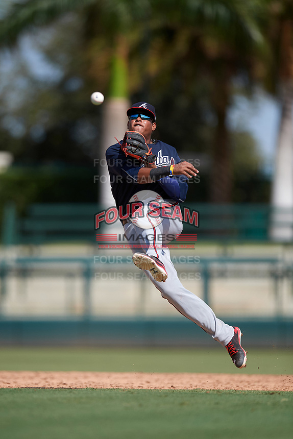 Atlanta Braves shortstop Kevin Maitan (50) throws to first base during an Instructional League game against the Baltimore Orioles on September 25, 2017 at Ed Smith Stadium in Sarasota, Florida.  (Mike Janes/Four Seam Images)