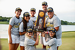 STILLWATER, OK -  The Arizona Women's Golf team poses with the National Championship trophy during the Division I Women's Golf Team Match Play Championship held at the Karsten Creek Golf Club on May 23, 2018 in Stillwater, Oklahoma. (Photo by Shane Bevel/NCAA Photos via Getty Images)