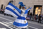 NewYork, United States, October 09, 2011..Argentinian reveller dances while they take part in the annual Hispanic Day Parade in New York October 9 2011. VIEWpress / Kena Betancur. .Thousands of New Yorkers of Latin American descent lined Fifth Avenue in Manhattan to cheer on the 47th annual Hispanic Day Parade,  about 10,000 people took part in the parade, bands and musical groups that celebrated Latin American, Spanish and Latino culture..Local media reported.