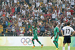 13 August 2008: Victor Obinna (NGA) (9) celebrates his second half goal.  The men's Olympic team of Nigeria defeated the men's Olympic soccer team of the United States 2-1 at Beijing Workers' Stadium in Beijing, China in a Group B round-robin match in the Men's Olympic Football competition.