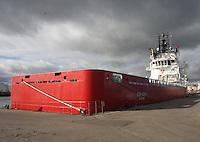 Oil Supply Ship Siem Danis berthed in Aberdeen Harbour.