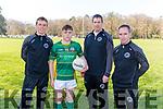 l-r Arthur Fitzgerald (coach), Dars Moynihan (Captain), Garry McGrath (Manager) and Hugh Rudden (Selector). St Brendan's College, Killarney Senior Team.