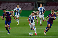 8th July 2020; Camp Nou, Barcelona, Catalonia, Spain; La Liga Football, Barcelona versus Espanyol;  Embarba of Espanyol breaks past the challenge of Rakitic and Busquets