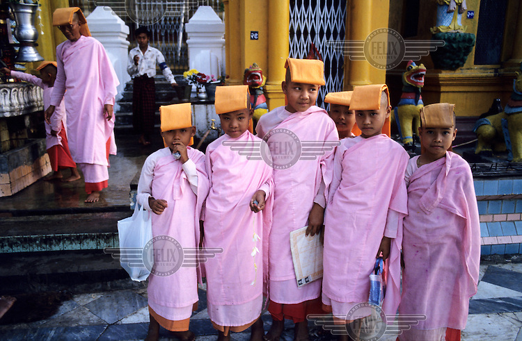 Young Nuns at Shwedagon Buddhist Pagoda.