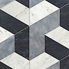 Francois Grandiose, a hand-cut stone mosaic, shown in polished Allure, Staturetto, and honed Orpheus Black, is part of the Semplice® collection for New Ravenna.