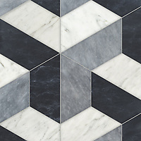 Francois Grandiose, a hand-cut stone mosaic, shown in polished Allure, Staturetto, and honed Orpheus Black, is part of the Semplice™ collection for New Ravenna.