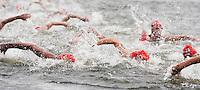15 AUG 2009 - LONDON, GBR - The Elite Mens field make their way through the Serpentine at the ITU World Championship Series Womens Triathlon (PHOTO (C) NIGEL FARROW)
