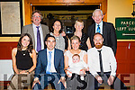 Celebrating the christening of baby Kaelan Dunne in St Johns Church on Saturday were front  l-r Ashley Reynolds,(God Parent), Fiachra Dunne, (Parent), Maeve Rahilly,(Parent), Baby Kaelan Dunne and Darragh Dunne,(God Parent). Back l-r Laurence Dunne, (Grand Parent), Marguerite Egan,(Grandparent), Rita Rahilly,(Grandparent) and John Rahilly,(Grandparent) with a party with family and friends at Stokers Lodge