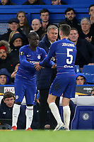 N'Golo Kante of Chelsea replaces Jorginho in the second half as Dynamo Kiev's Manager, Alyaksandr Khatskevich, looks on during Chelsea vs Dynamo Kiev, UEFA Europa League Football at Stamford Bridge on 7th March 2019