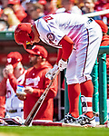 5 April 2018: Washington Nationals first baseman Ryan Zimmerman tends to his bat while on deck during play against the New York Mets at Nationals Park in Washington, DC. The Mets defeated the Nationals 8-2 in the first game of their 3-game series. Mandatory Credit: Ed Wolfstein Photo *** RAW (NEF) Image File Available ***