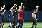 06 September 2008: Landon Donovan (USA) (right) leads his teammates in applauding the fans after the game. The United States Men's National Team defeated the Cuba Men's National Team 1-0 at Estadio Nacional de Futbol Pedro Marrero in Havana, Cuba in a CONCACAF semifinal round FIFA 2010 South Africa World Cup Qualifier.