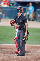 Home plate umpire Jeff Hamann during a Midwest League game between the Peoria Chiefs and Bowling Green Hot Rods at Dozer Park on May 5, 2019 in Peoria, Illinois. Peoria defeated Bowling Green 11-3. (Zachary Lucy/Four Seam Images)