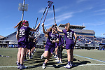 DURHAM, NC - FEBRUARY 18: Northwestern's Nicole Beardsley (27). The Duke University Blue Devils hosted the Northwestern University Wildcats on February 18, 2018, at Koskinen Stadium in Durham, NC in women's college lacrosse match. Duke won the game 9-8.