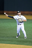 Wake Forest Demon Deacons second baseman Nate Mondou (10) makes a throw to first base against the Georgetown Hoyas at David F. Couch Ballpark on February 19, 2016 in Winston-Salem, North Carolina.  The Demon Deacons defeated the Hoyas 3-1.  (Brian Westerholt/Four Seam Images)