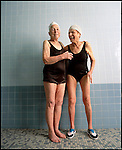 Pauline Darmody (L) and May Goldberger (R) at the Century Village swimming pool, West Palm Beach, Florida on November 28, 2000