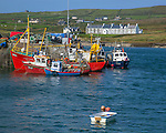 County Kerry, Ireland: Fishing boats in Portmagee Channel with Valentia Island in the distance