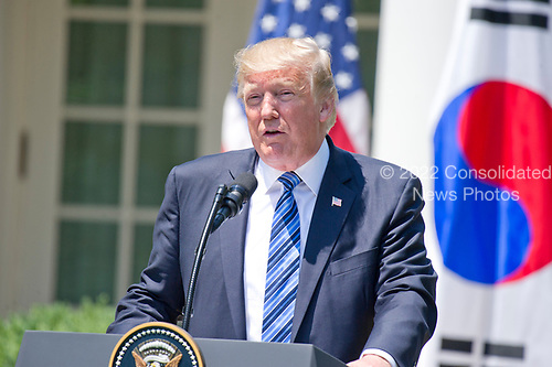 United States President Donald J. Trump makes a joint statement with President Moon Jae-in of the Republic of Korea in the Rose Garden of the White House in Washington, DC on Friday, June 30, 2017.  <br /> Credit: Ron Sachs / CNP