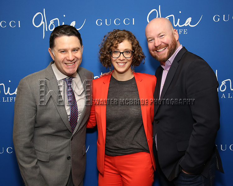 """The Press Room: Jim Byk, Kelly Guiod and Shane Marshall Brown attend the Opening Night Performance of """"Gloria: A Life"""" on October 18, 2018 at the Daryl Roth Theatre in New York City."""