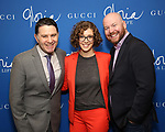 "The Press Room: Jim Byk, Kelly Guiod and Shane Marshall Brown attend the Opening Night Performance of ""Gloria: A Life"" on October 18, 2018 at the Daryl Roth Theatre in New York City."
