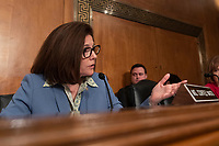 Senator Catherine Cortez Masto, Democrat of Nevada, asks the CFPB Director Kathy Kraninger a question as she testifies before the Senate Banking Committee on Capitol Hill in Washington, D.C. on March 12, 2019. Credit: Alex Edelman / CNP/AdMedia