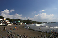 People on the beach in La Libertad, El Salvador