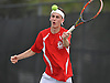 Sean Mullins of Cold Spring Harbor returns a volley during the Nassau County varsity boys' tennis doubles championship match against Dylan Granat and Daniel Shleimovich of Syosset at Oceanside High School on Satuday, May 16, 2015.<br /> <br /> James Escher