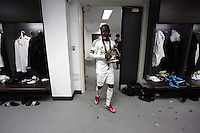 Pictured:  Nathan Dyer celebrating in the changing room. Sunday 24 February 2013<br /> Re: Capital One Cup football final, Swansea v Bradford at the Wembley Stadium in London.