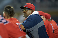 Louisville Bats hitting coach Leon Durham (10) watches the action from the dugout during the game against the Durham Bulls at Durham Bulls Athletic Park on May 28, 2019 in Durham, North Carolina. The Bulls defeated the Bats 18-3. (Brian Westerholt/Four Seam Images)