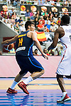Spain's basketball player Willy Hernangomez and Angola's basketball player Carlos Morais during the first match of the preparation for the Rio Olympic Game at Coliseum Burgos. July 12, 2016. (ALTERPHOTOS/BorjaB.Hojas)