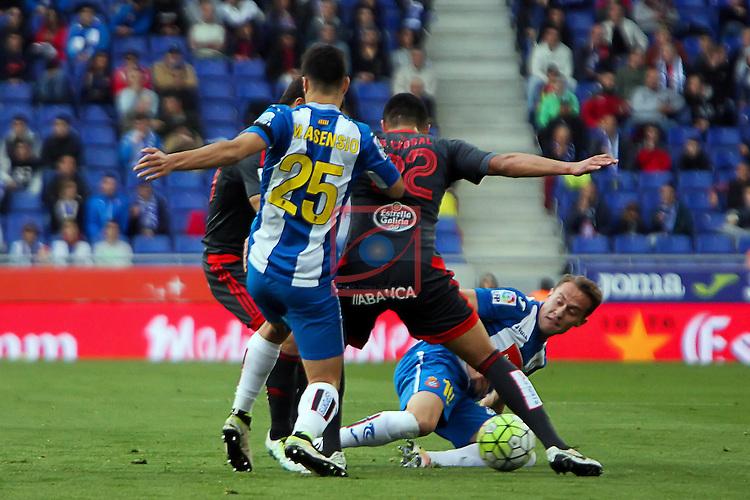 League BBVA 2015/2016 - Game: 34.<br /> RCD Espanyol vs RC Celta: 1-1.<br /> Marco Asensio, Gustavo Cabral &amp; Abraham.
