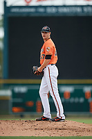 Baltimore Orioles pitcher Brenan Hanifee (67) gets ready to deliver a pitch during a Florida Instructional League game against the Boston Red Sox on October 8, 2018 at the Ed Smith Stadium in Sarasota, Florida.  (Mike Janes/Four Seam Images)