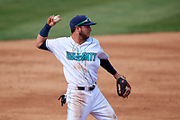 Lynchburg Hillcats third baseman Alexis Pantoja (6) throws to first base during the first game of a doubleheader against the Potomac Nationals on June 9, 2018 at Calvin Falwell Field in Lynchburg, Virginia.  Lynchburg defeated Potomac 5-3.  (Mike Janes/Four Seam Images)