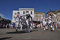 Morris sides on the Market Place and St. Mary's Street. Wallingford Bunkfest 2013.
