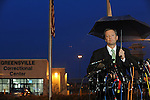 """Larry Traylor, the Virginia Department of Corrections spokesmen, briefs the media outside the entrance to the Greensville Correctional Center hours before the 9 p.m. execution of John Allen Muhammad, the so-called """"Washington sniper"""" responsible for gunning down 10 and wounding three in the D.C.-area in 2002, in Jarratt, Virginia on November 10, 2009.  Virginia Governor Tim Kaine refused to grant a stay of clemency and the U.S. Supreme Court turned down the request for a stay of execution despite religious objections due to Muhammad's mental health."""