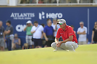 Dean Burmester (RSA) on the 18th green during the 2nd round of the DP World Tour Championship, Jumeirah Golf Estates, Dubai, United Arab Emirates. 16/11/2018<br /> Picture: Golffile | Fran Caffrey<br /> <br /> <br /> All photo usage must carry mandatory copyright credit (© Golffile | Fran Caffrey)