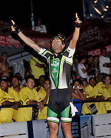 CUCUTA - COLOMBIA - 20-05-2013: Pedro Causil, patinador del departamento de Antioquia celebra depues de ganar la prueba de los 500 metros, mayores varones en el Campeonato Nacional Interligas en la ciudad de Cucuta, mayo 20 de 2013. (Foto: VizzorImage / Luis Ramirez / Staff).  Pedro Causil,  skater of the Antioaquia Department celebrates after winning the 500 meters event, senior men in Interleague National Championship in the city of Cucuta, May 20, 2013. (Photo: VizzorImage / Luis Ramirez / Staff).