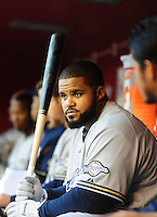 May 7, 2010; Phoenix, AZ, USA; Milwaukee Brewers first baseman Prince Fielder in the dugout prior to the game against the Arizona Diamondbacks at Chase Field. Mandatory Credit: Mark J. Rebilas-