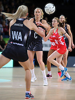 27.08.2016 Silver Ferns Laura Langman in action during the Netball Quad Series match between teh Silver Ferns and England at Vector Arena in Auckland. Mandatory Photo Credit ©Michael Bradley.