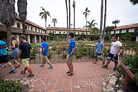 Incoming first-years participate in Oxy Engage with a visit to the Santa Barbara Mission on Aug. 19, 2014, one of the stops made by the California Coast group.<br /> (Photo by Marc Campos, Occidental College Photographer)